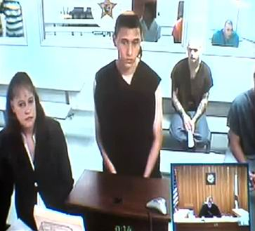 Tyler Hadley faces the judge before his final sentence of two life sentences.